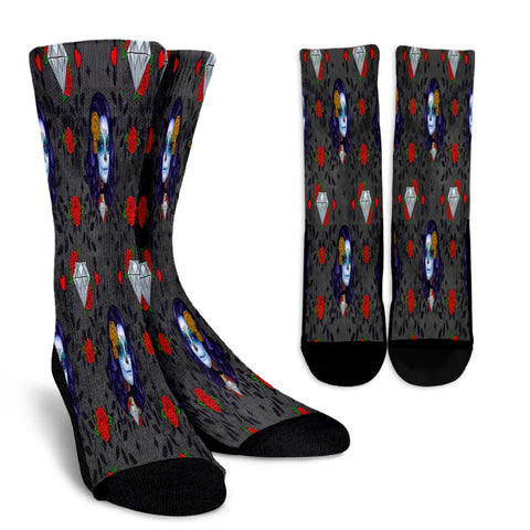Sugar Skull Diamond Red Rose Crew Socks