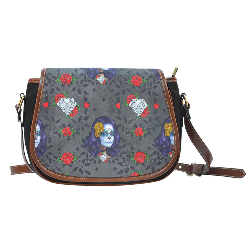Sugar Skull Themed Design 12 Crossbody Shoulder Canvas Leather Saddle Bag
