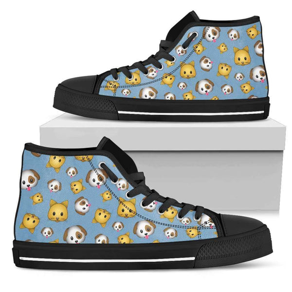 Emoji Cats And Dogs Womens High Top Shoes