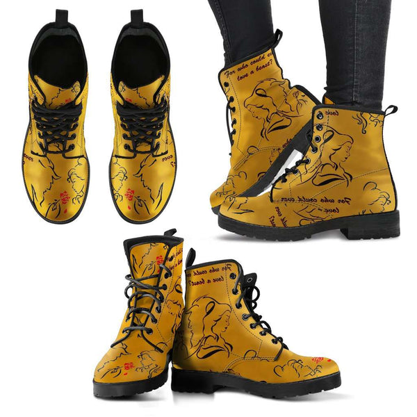 Beauty And The Beast Love Womens Leather Boots