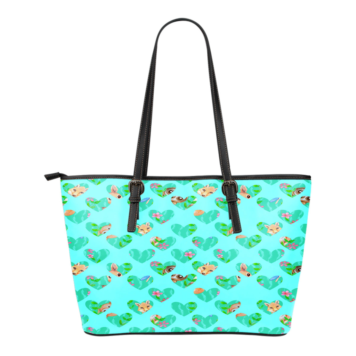 Woodland Themed Design C6 Women Small Leather Tote Bag
