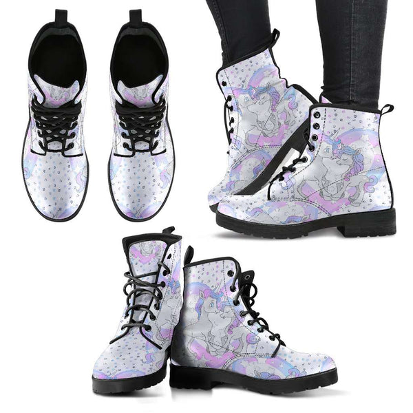 Unicorn In Love Heart Womens Leather Boots - STUDIO 11 COUTURE