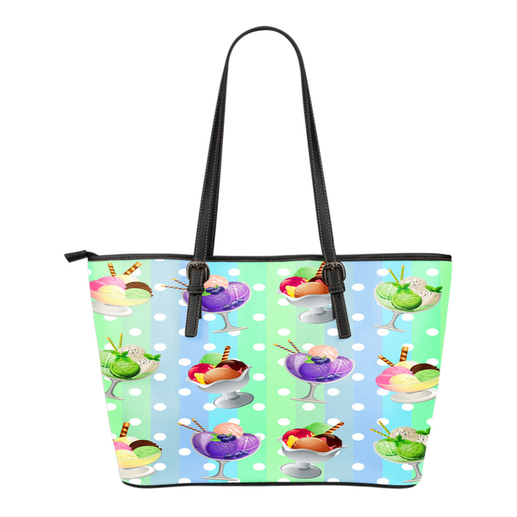 Ice Cream Themed Design C4 Women Small Leather Tote Bag