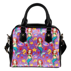 Mermaids Under The Sea Purple 1 Shoulder Handbag