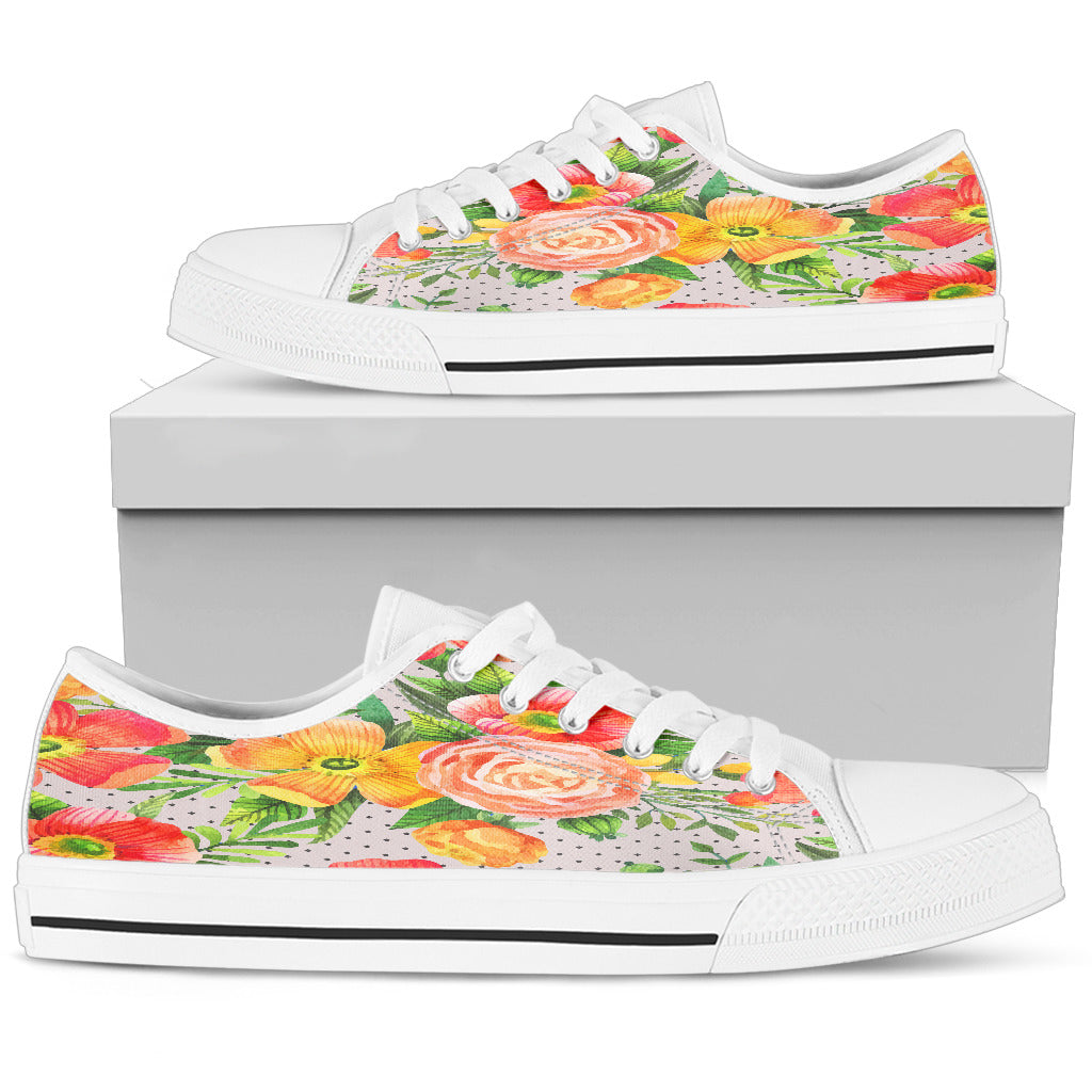 Beautiful Floral Spring Women Low Top Shoes