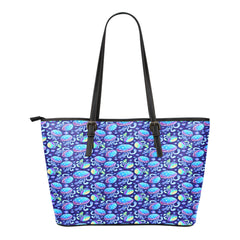 Mermaid Themed Design C11 Women Small Leather Tote Bag