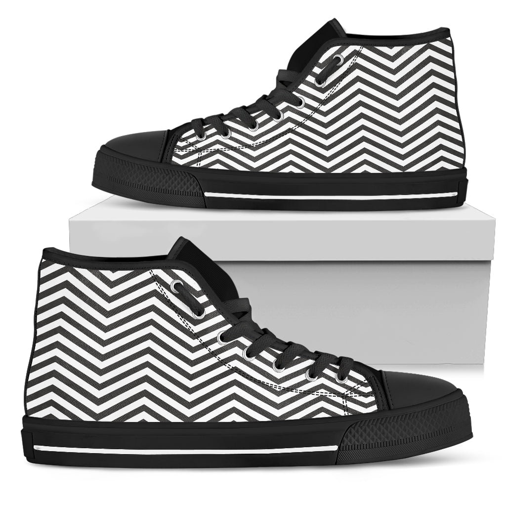 Black and White Zigzag Floral Spring Women High Top Shoes