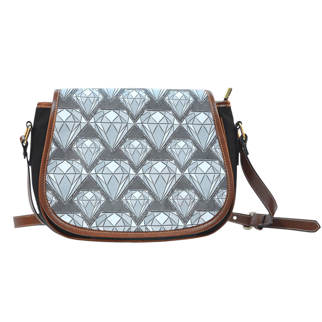 Sugar Skull Themed Design 8 Crossbody Shoulder Canvas Leather Saddle Bag