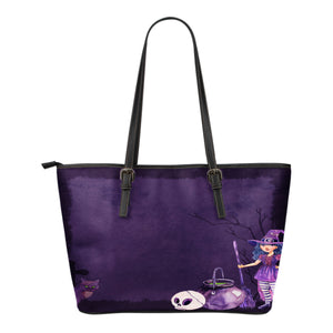Witch Themed Design C3 Women Small Leather Tote Bag