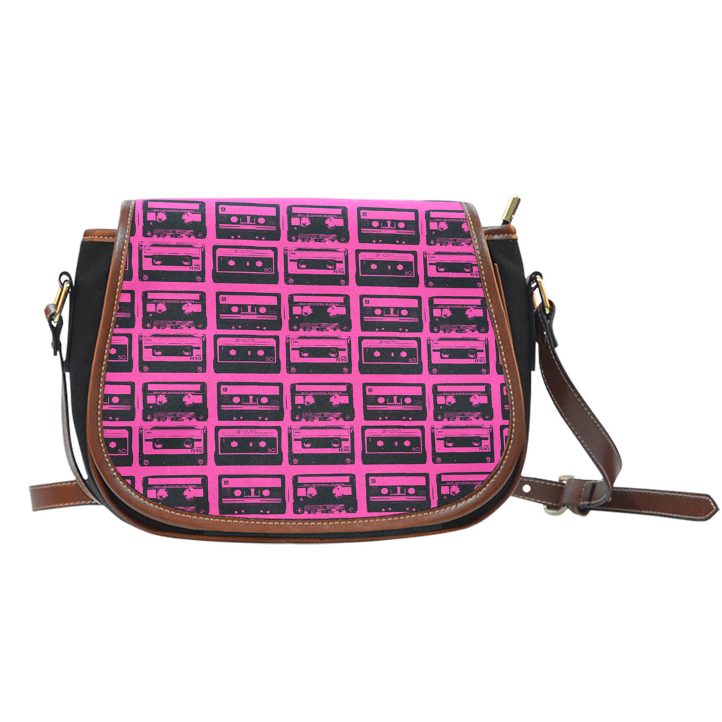 80s Boombox (A5) Crossbody Shoulder Canvas Leather Saddle Bag