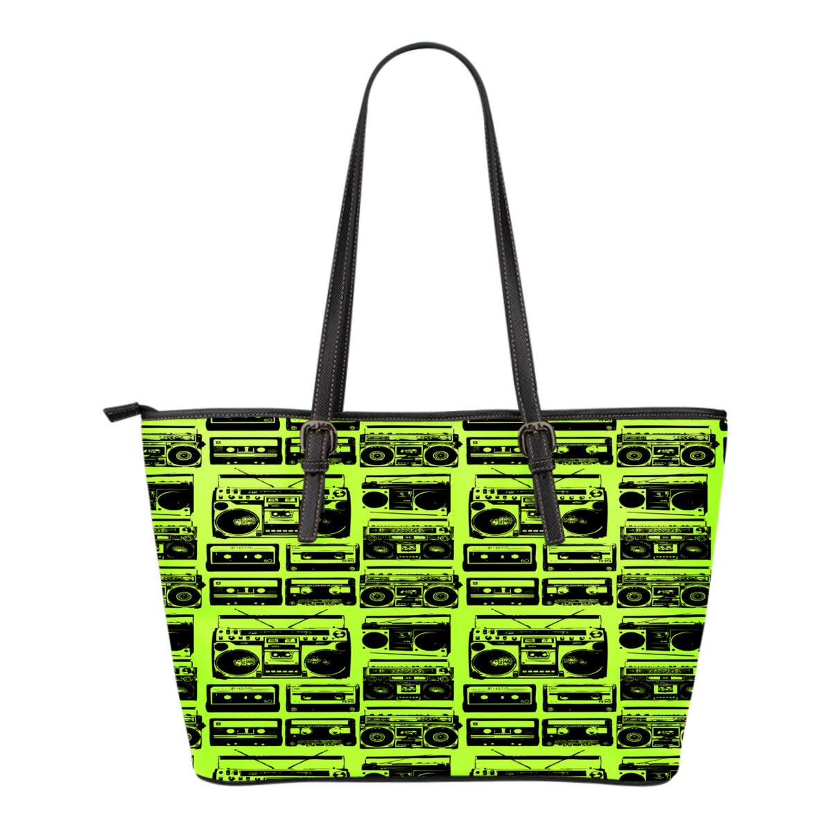 80s Boombox Themed Design C5 Women Small Leather Tote Bag