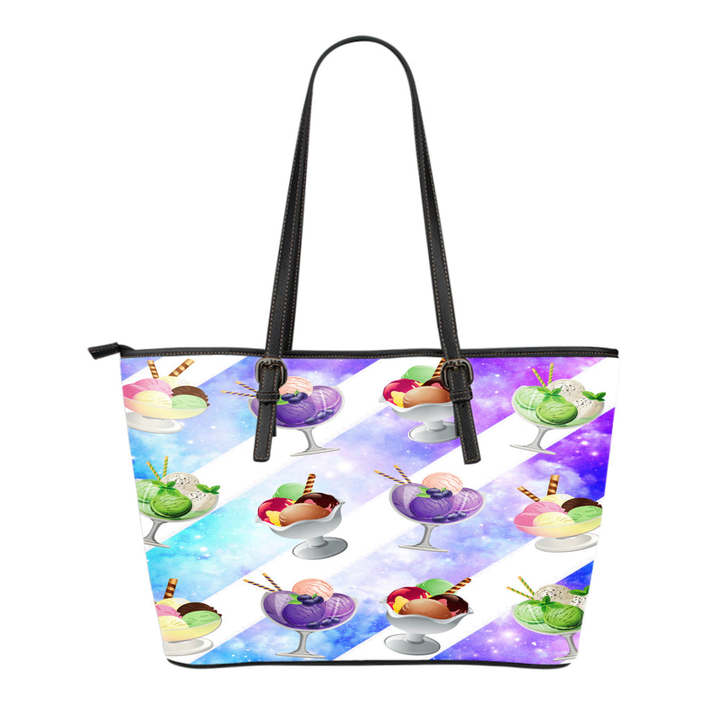 Ice Cream Themed Design C6 Women Small Leather Tote Bag
