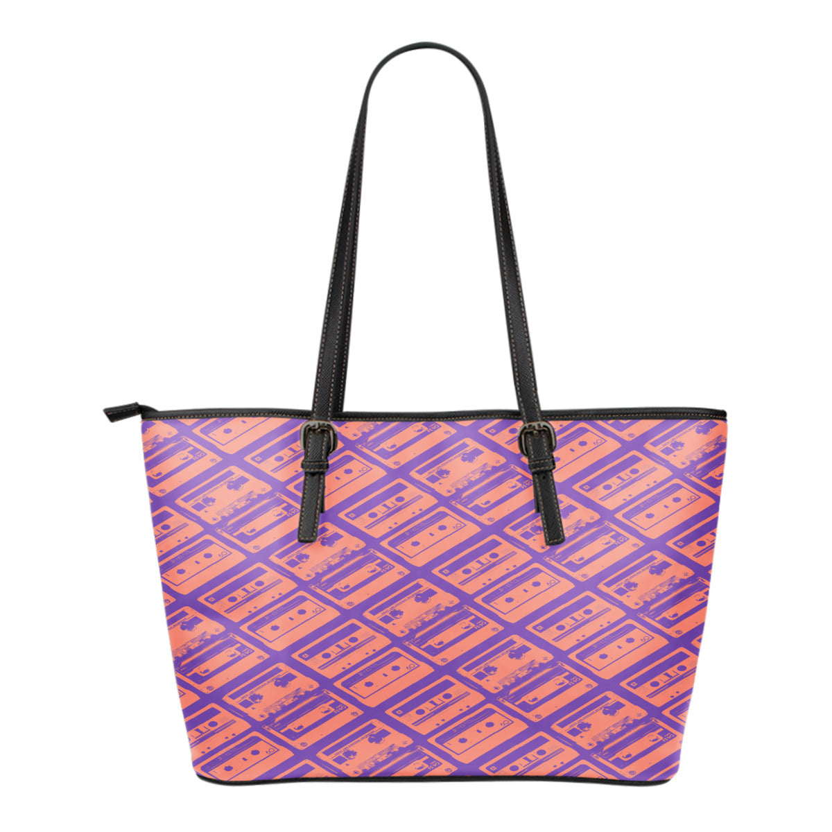 80s Boombox Themed Design C3 Women Small Leather Tote Bag