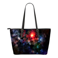 Galaxy Themed Design C10 Women Small Leather Tote Bag