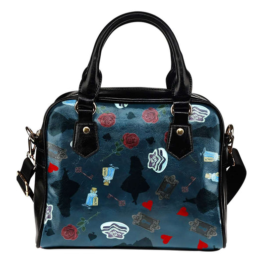 Alice In Wonderland Silhouette Drink Me Eat Me Red Roses Gold Keys Blue Shoulder Handbag