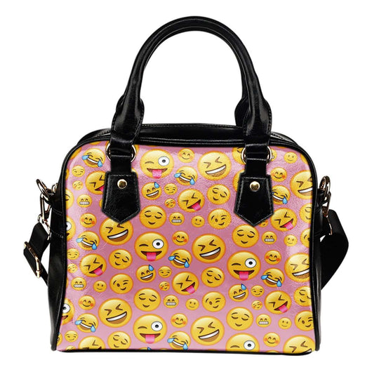 Fun Emojis Happy Theme Women Fashion Shoulder Handbag Black Vegan Faux Leather - STUDIO 11 COUTURE
