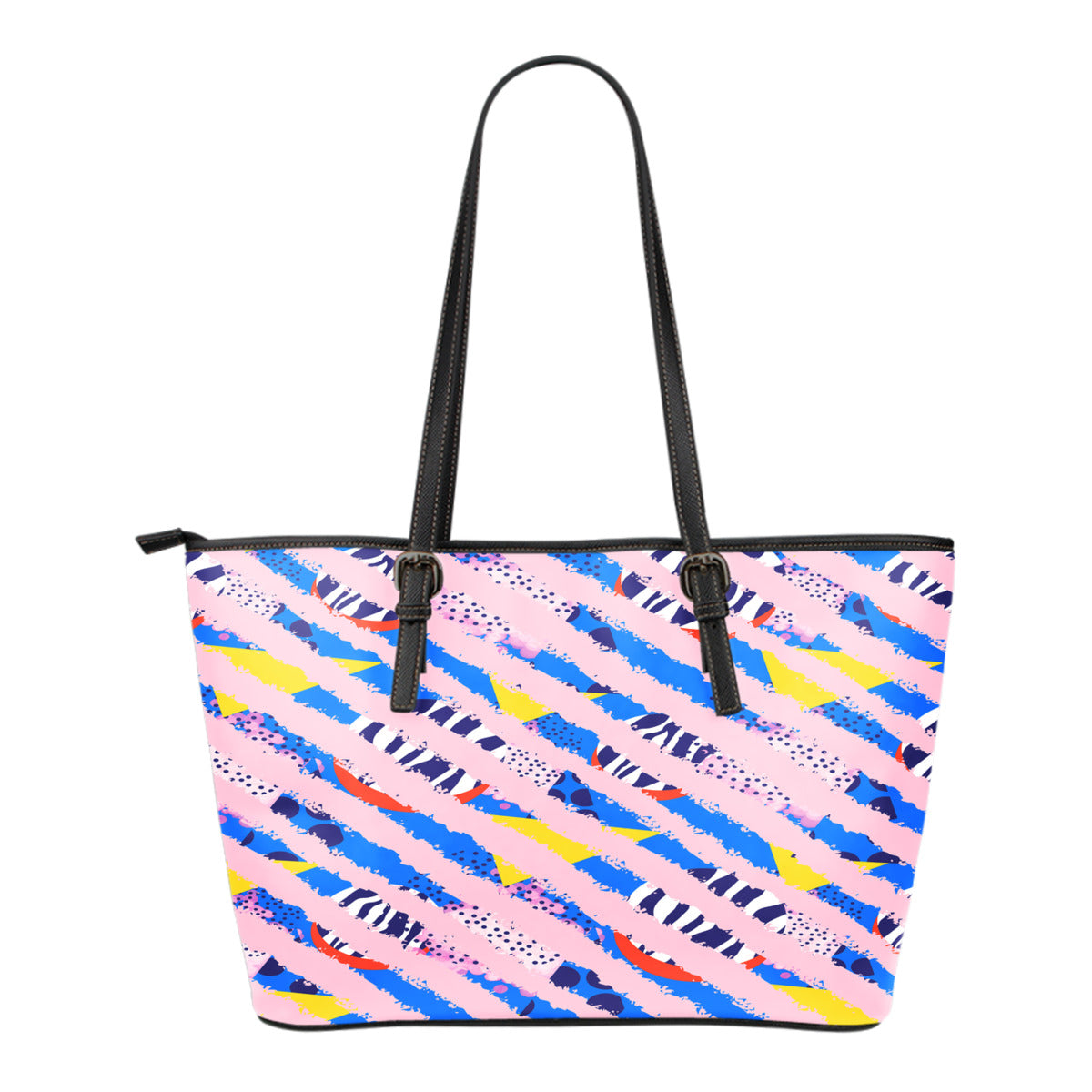 80s Fashion Themed Design C15 Women Small Leather Tote Bag