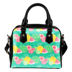 Fruits Themed Design B3 Women Fashion Shoulder Handbag Black Vegan Faux Leather