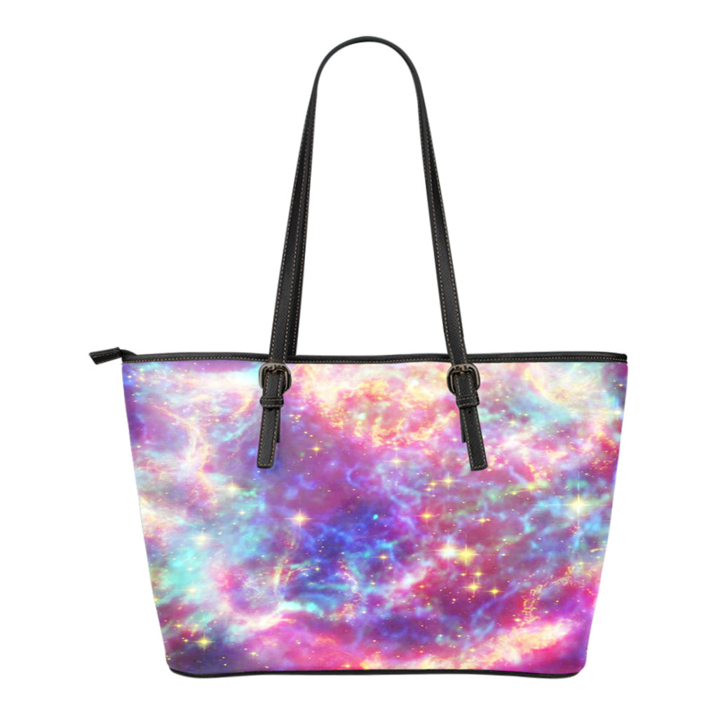 Pastel Galaxy Themed Design C2 Women Small Leather Tote Bag