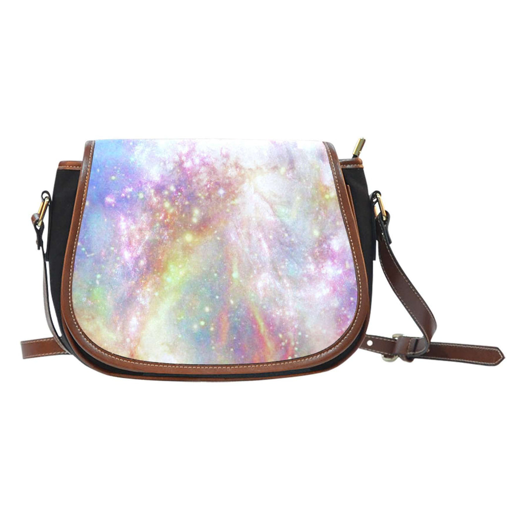 Galaxy Pastel 6 Crossbody Shoulder Canvas Leather Saddle Bag