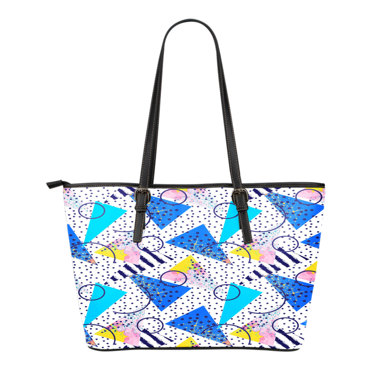 80s Fashion Themed Design C5 Women Small Leather Tote Bag