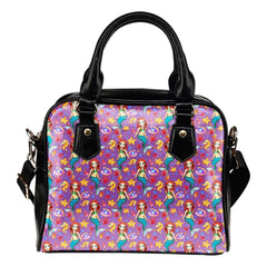 Mermaids Under The Sea Purple Shoulder Handbag