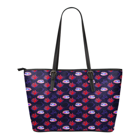 Mermaid Themed Design C9 Women Small Leather Tote Bag