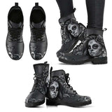 Black and White Sugar Skull Girl Womens Leather Boots - STUDIO 11 COUTURE
