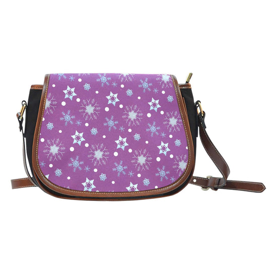 Frozen Snowing Crossbody Shoulder Canvas Leather Saddle Bag - STUDIO 11 COUTURE
