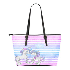 Unicorn Themed Design C14 Women Small Leather Tote Bag