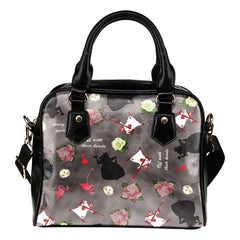 Alice In Wonderland Queen of Hearts Theme Women Fashion Shoulder Handbag Black Vegan Faux Leather