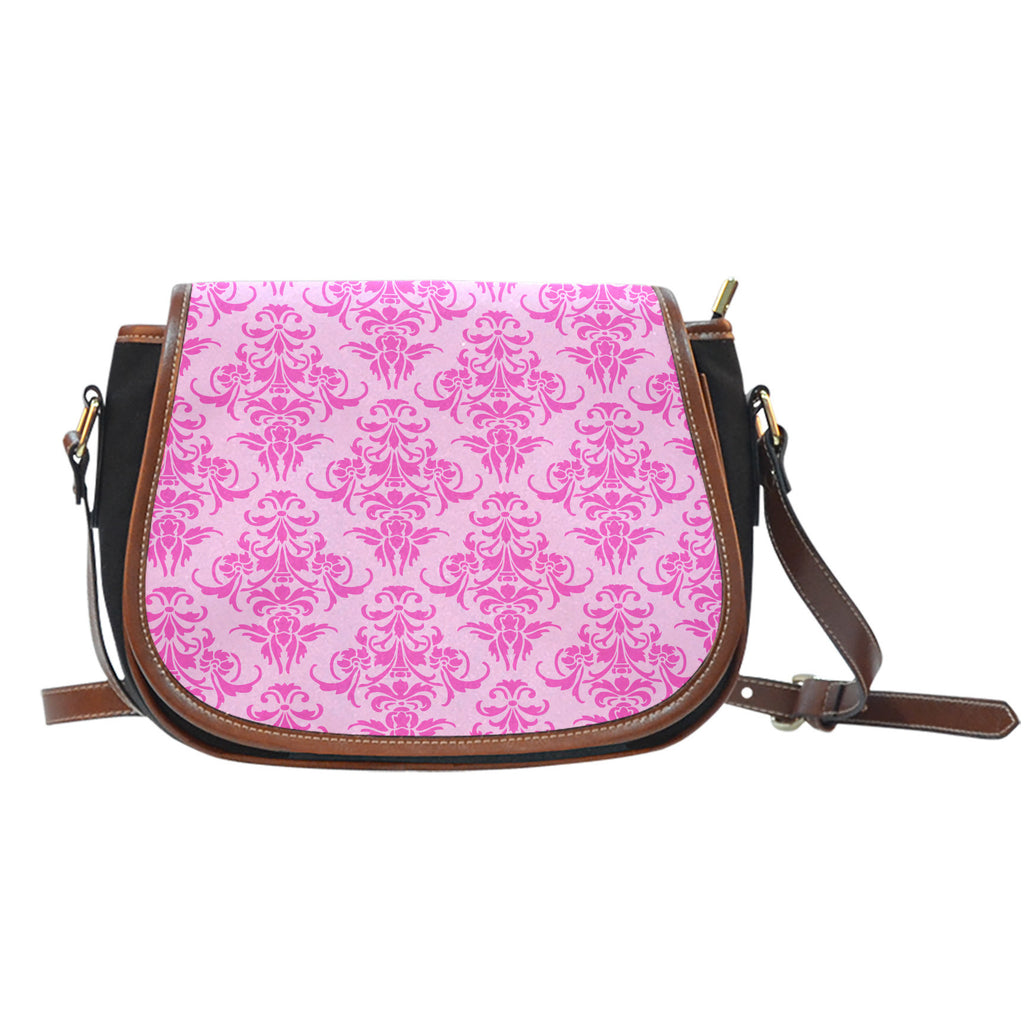 Ballerina Rose (A4) Crossbody Shoulder Canvas Leather Saddle Bag
