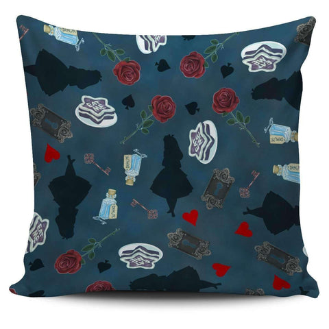 Alice in Wonderland Silhouette Blue Drink Me Eat Me Pillow Case