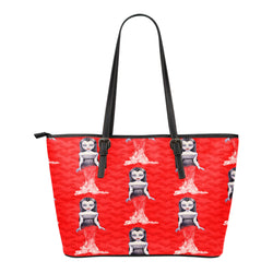 Vampire Themed Design C11 Women Small Leather Tote Bag