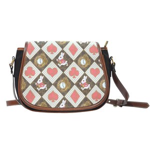 Alice In Wonderland Red Card Crossbody Shoulder Canvas Leather Saddle Bag