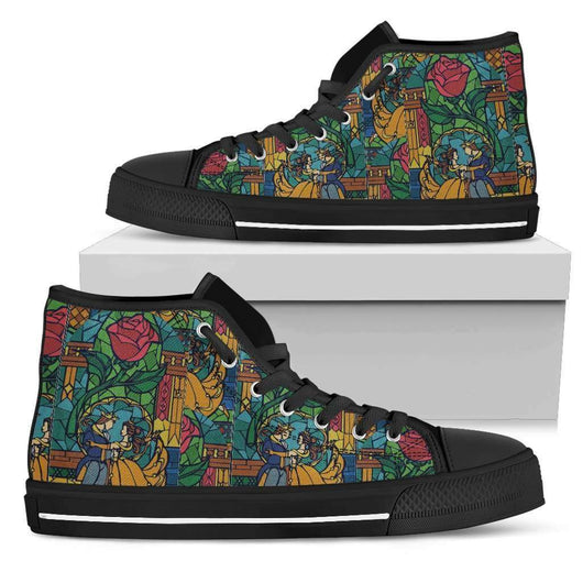 Beauty And The Beast Stained Glass Womens High Top Shoes - STUDIO 11 COUTURE
