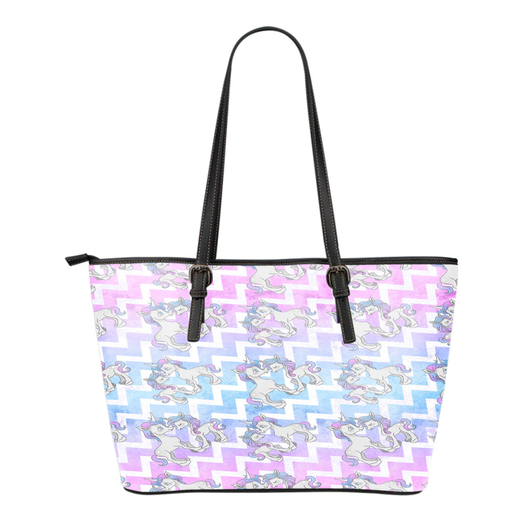 Unicorn Themed Design C11 Women Small Leather Tote Bag