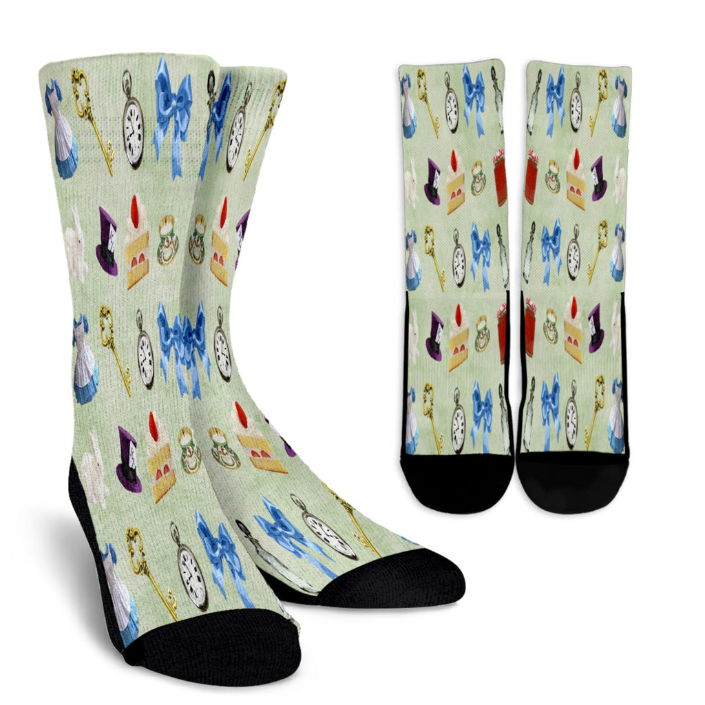 Cake And Hat Alice In Wonderland Crew Socks