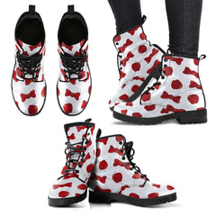 Snow White Apples And Bows Womens Leather Boots