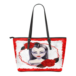 Vampire Themed Design C4 Women Small Leather Tote Bag