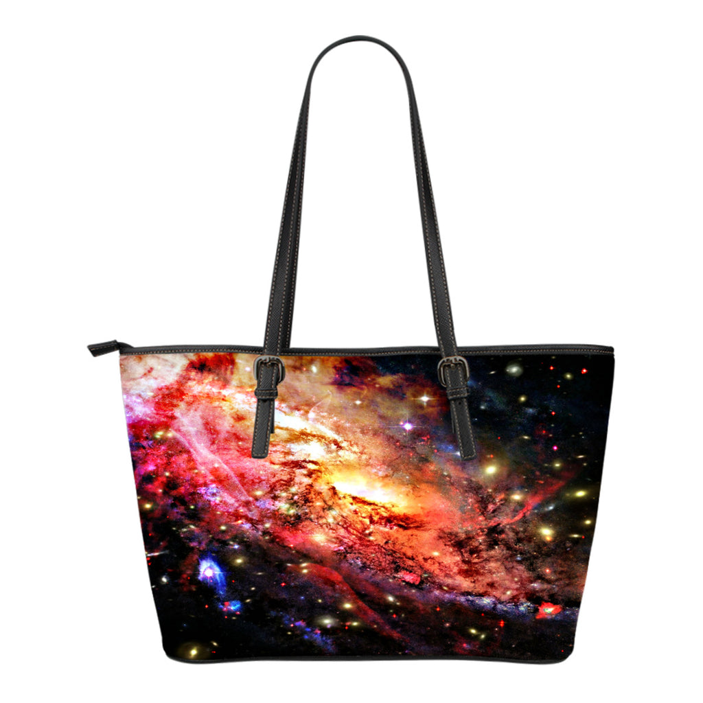 Galaxy Themed Design C6 Women Small Leather Tote Bag