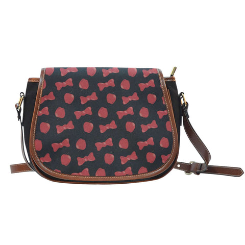 Snow White Apple And Bows Leather Saddle Bag