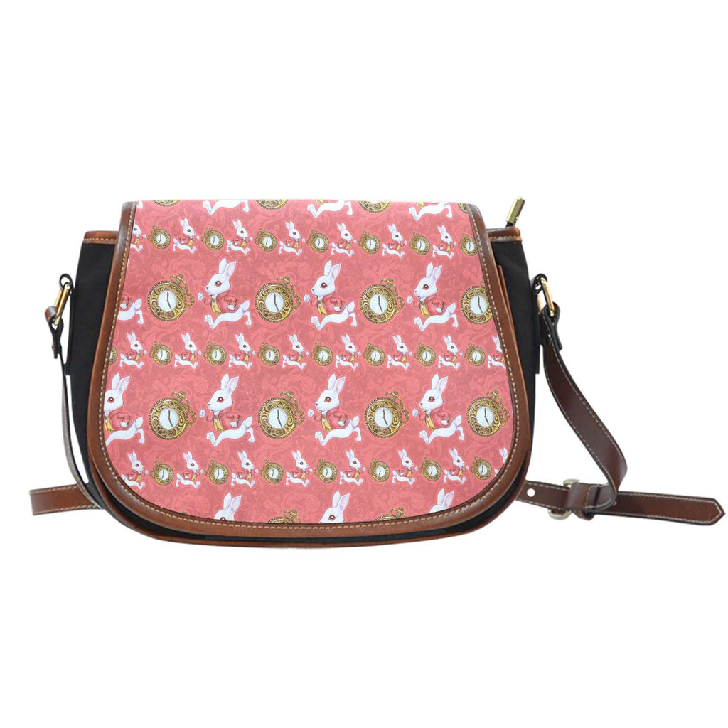 Alice In Wonderland Rabbit Time Crossbody Shoulder Canvas Leather Saddle Bag
