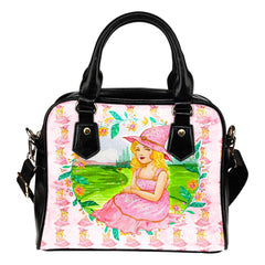 Wizard Of Oz Themed Design B8 Women Fashion Shoulder Handbag Black Vegan Faux Leather