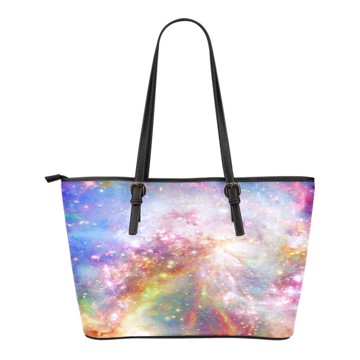 Pastel Galaxy Themed Design C9 Women Small Leather Tote Bag