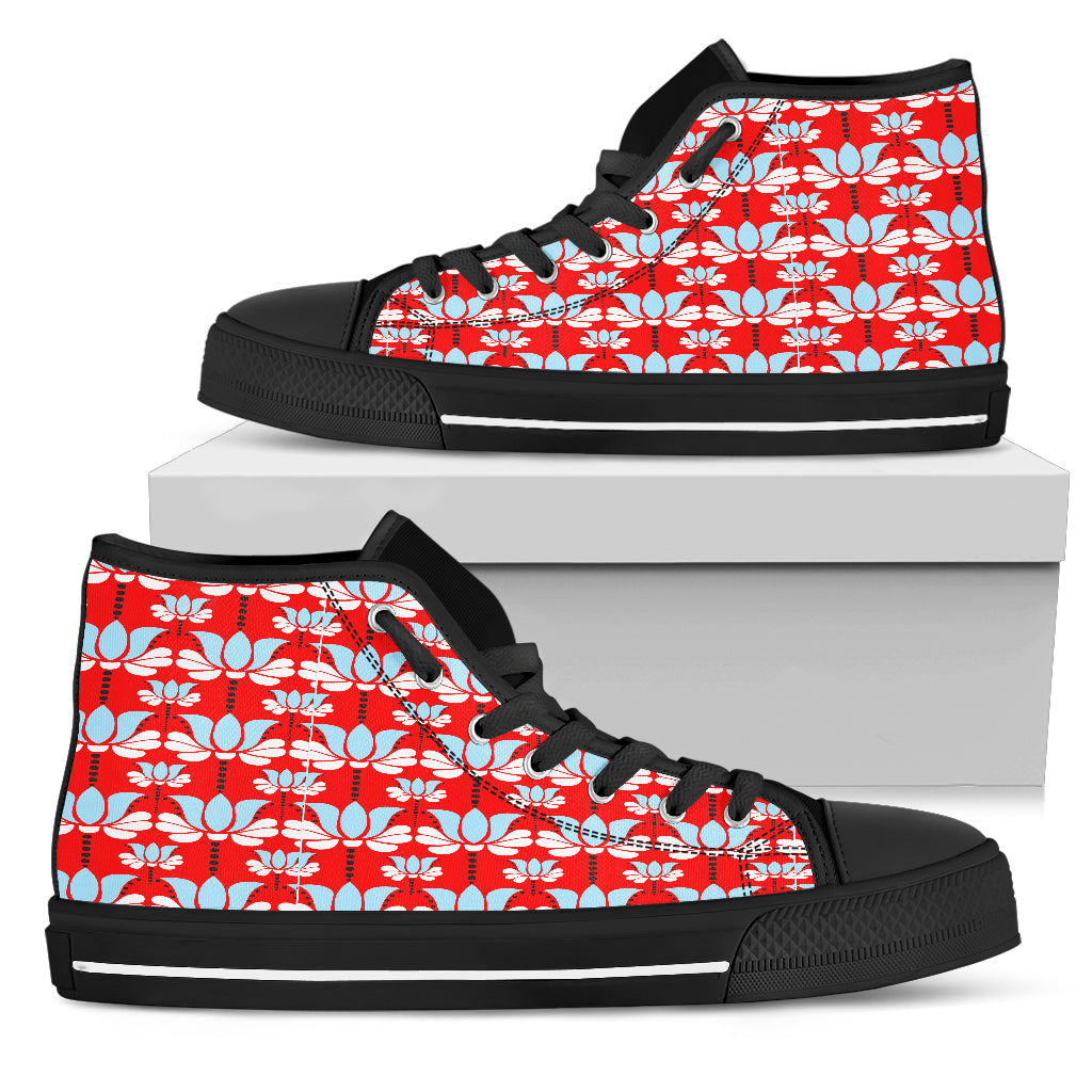 Art Deco Red Floral Women High Top Shoes