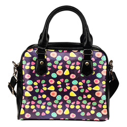 Fruits Themed Design B8 Women Fashion Shoulder Handbag Black Vegan Faux Leather