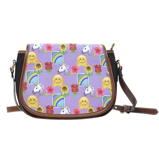Emojis Happy Place Crossbody Shoulder Canvas Leather Saddle Bag