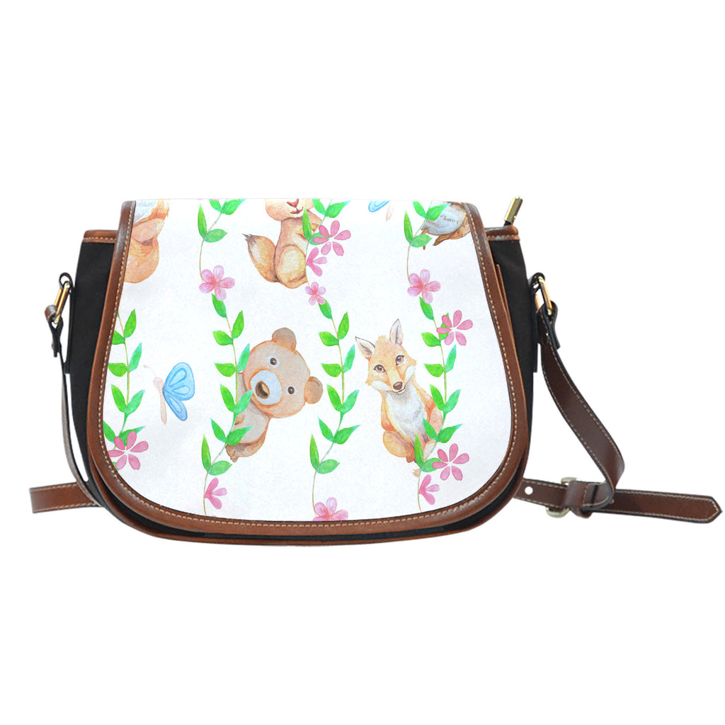 Woodland Themed Design 8 Crossbody Shoulder Canvas Leather Saddle Bag