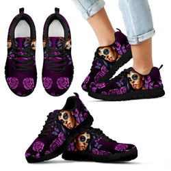 Violet Sugar Skull Girl Kids Sneakers - STUDIO 11 COUTURE